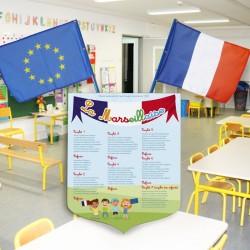 1 écusson + 2 drapeaux maternelle LOT LOI BLANQUER