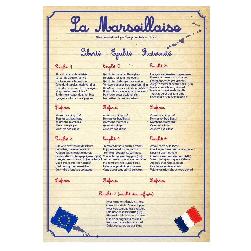 Affiche en PVC rigide Hymne National
