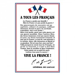 """Plaque intérieur """"À tous les français"""" Générale De Gaulle"""