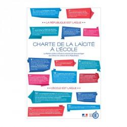 """Plaque intérieur loi Peillon """"Charte de la laïcité à l'école"""" PVC ou PLEXI"""