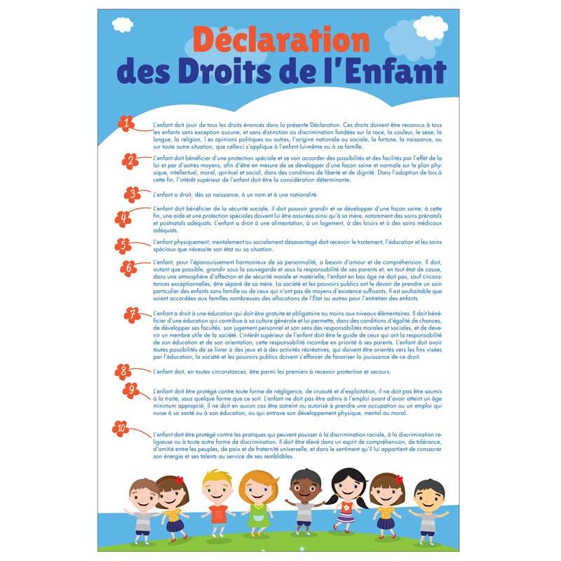 """Plaque intérieur """"Déclaration des Droits de l'Enfant"""" loi Peillon"""