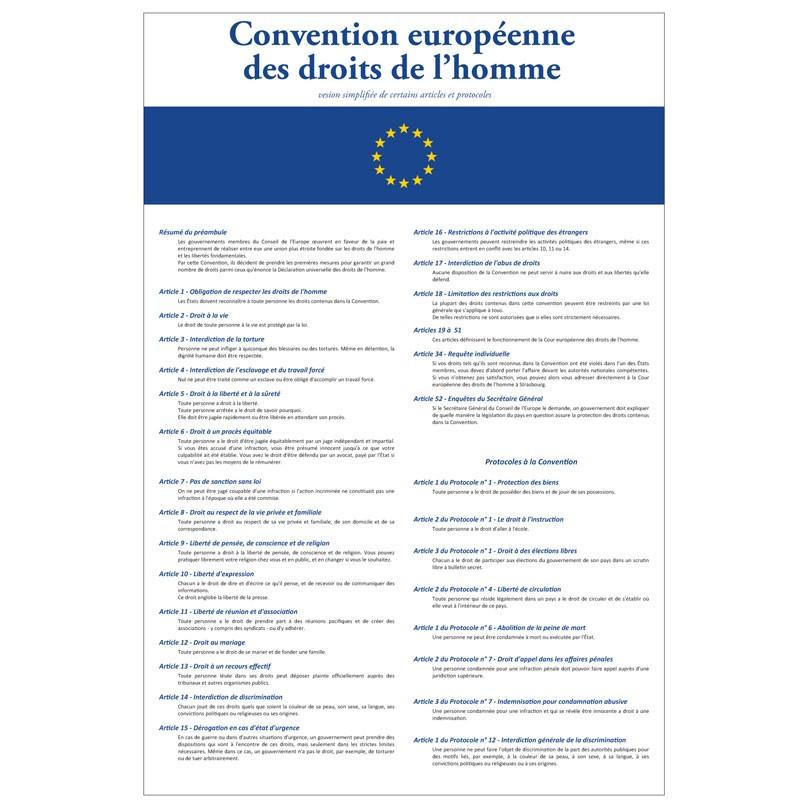 """Plaque intérieur """"Convention Européenne des Droits de l'Homme"""" du A3 au A0"""