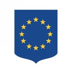 Porte-drapeaux, écusson aux couleurs de l'Europe, châssis bois