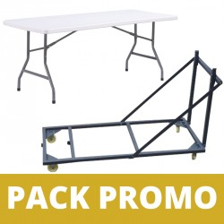 Lot de tables polypro 183 x 76 cm avec chariot