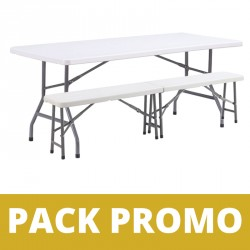 Ensemble table et bancs pliants en polypro
