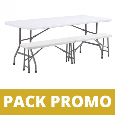 Ensemble table pliante + bancs pliant en polypro