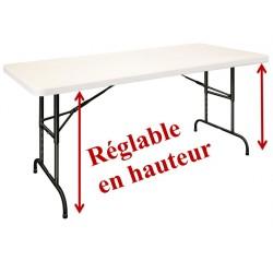 Table pliante polypro à hauteur réglable pieds noirs