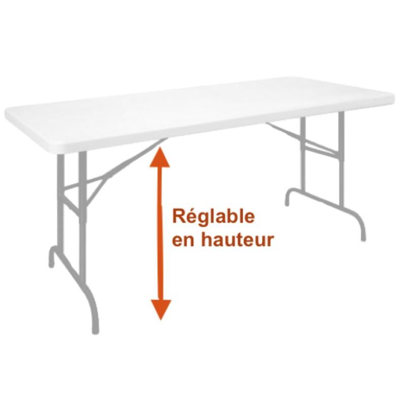 Table réglable et pliante de collectivité en polypro - DMC Direct