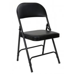 Chaise pliante en vinyle rembourré et acier