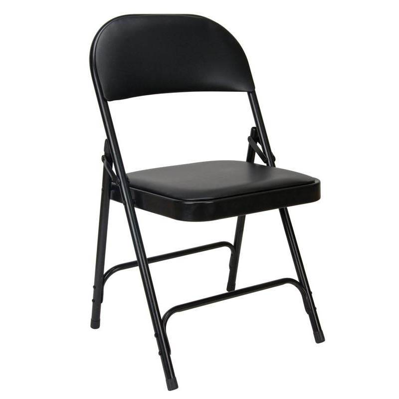 Chaise pliante EUROP noire revêtement vinyle