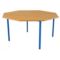 Table octogonale avec 4 pieds en acier, plateau en mélaminé ou en stratifié