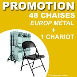 48 CHAISES PLIANTES EUROP MÉTAL + 1 CHARIOT POUR CHAISE