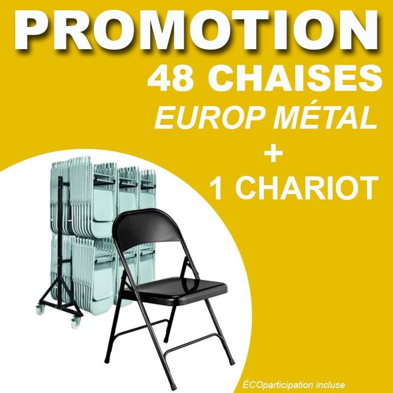 48 CHAISES PLIANTES EUROP MÉTAL + 1 CHARIOT CHAISE