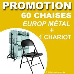 60 CHAISES PLIANTES EUROPE METAL + 1 CHARIOT