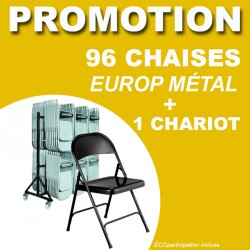 96 CHAISES PLIANTES EUROPE METAL + 1 CHARIOT
