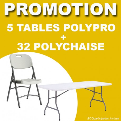 Promo, lot de 5 tables polypro et 32 chaises polypro