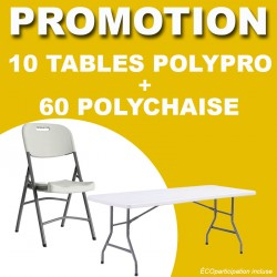 LOT DE 10 TABLES POLYPRO ET 60 POLYCHAISE