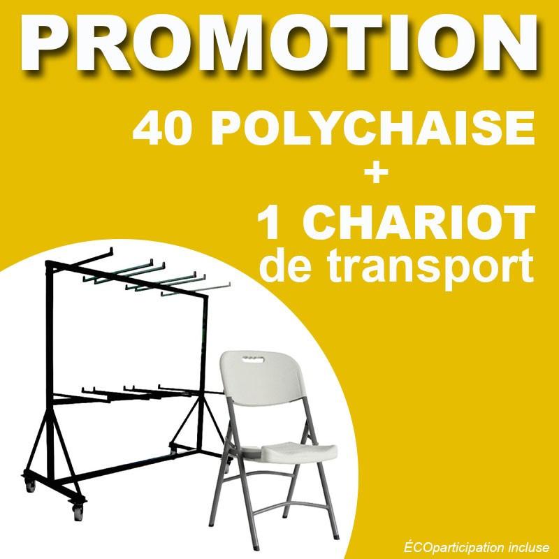 PROMOTION 40 Polychaises pliantes et 1 chariot de transport