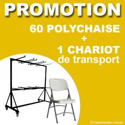 LOT DE 60 POLYCHAISE + 1 CHARIOT DE TRANSPORT