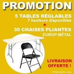 PROMO 5 TABLES RÉGLABLES ET 30 CHAISES EN MÉTAL