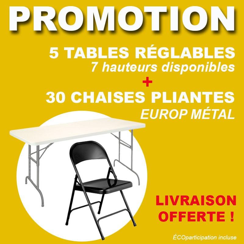 Lot de 5 tables pliantes et 30 chaises en métal
