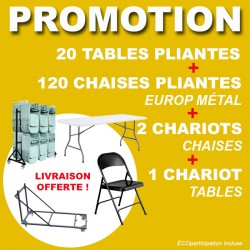 120 CHAISES METAL + 20 TABLES PLIANTES + 3 CHARIOTS