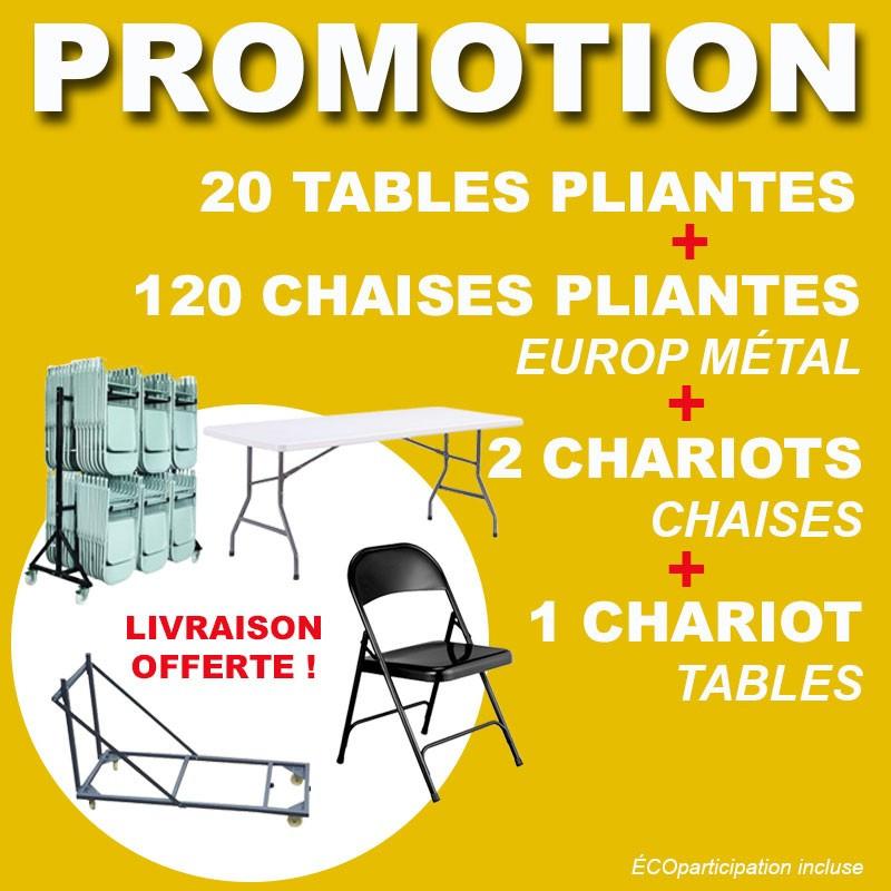 PROMOTION 1 PODIUM, 48 chaises, 1 chariot chaise, 10 tables, 1 chariot table et 3 grilles à roulettes offertes