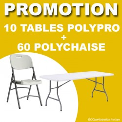 Lot tables pliantes polypro 183x76 cm + chaises pliantes