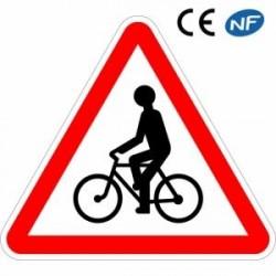 Panneau routier débouché de cyclistes oucyclomotoristes probables (A21)