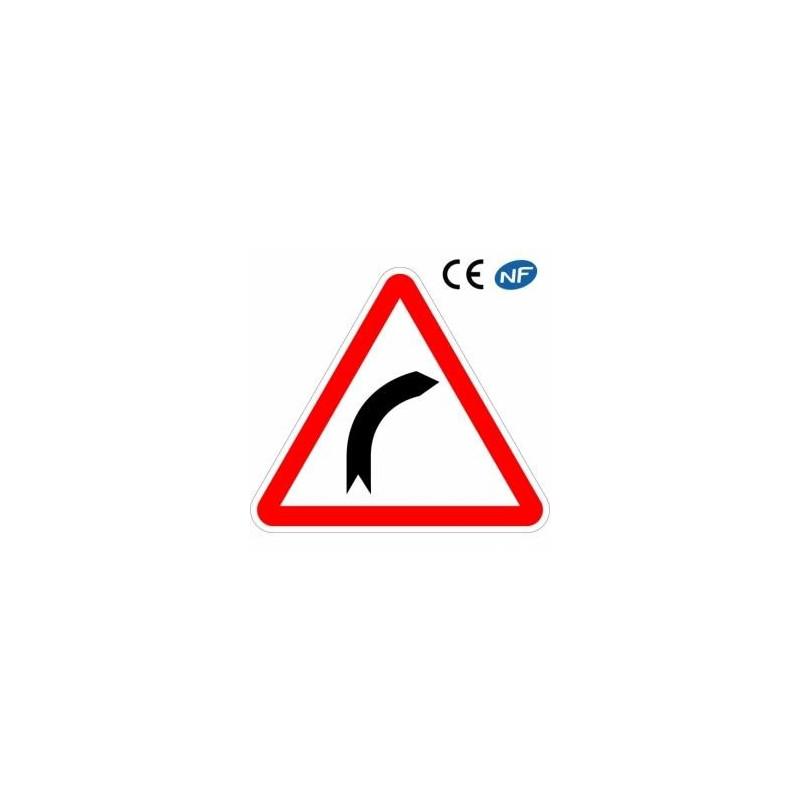 Panneau routier indication d'un danger virage à droite (A1a)