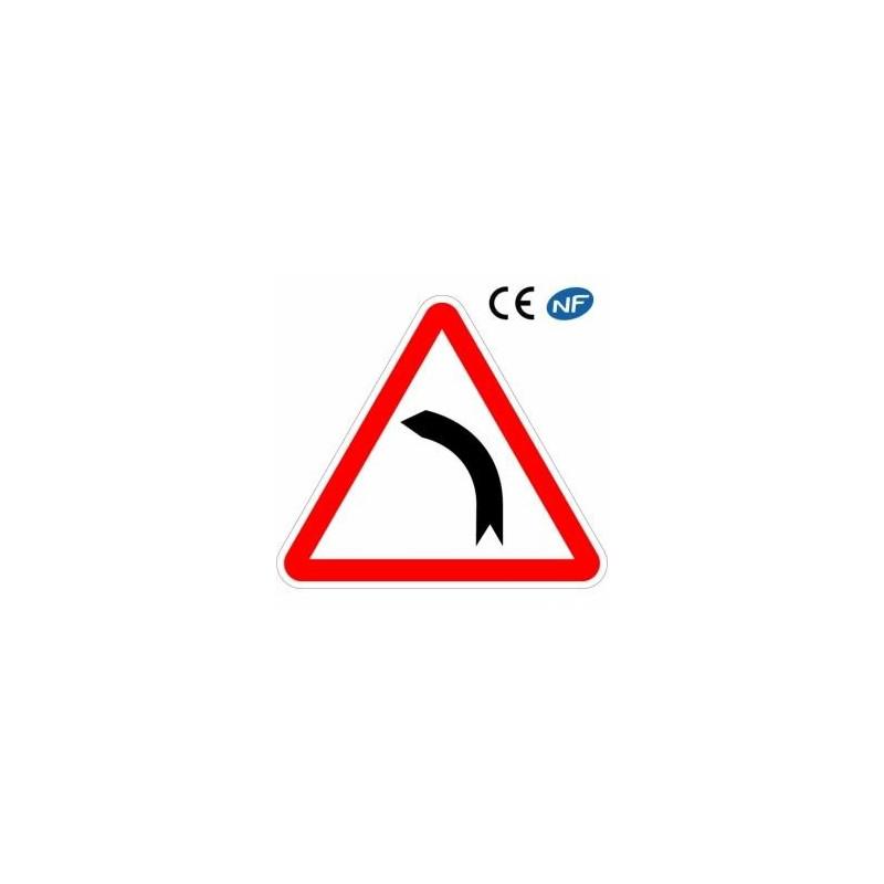 Panneau routier indication virage àgauche (A1b)