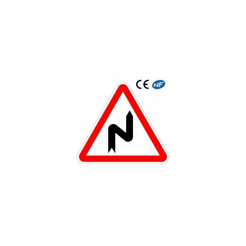 Panneau de signalisation succession de virages dont le 1er est à droite (A1c)