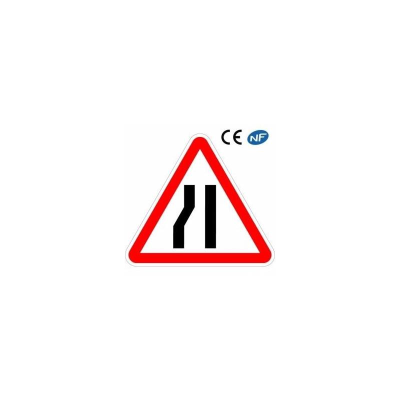 Panneau de signalisation enaluminium : chaussée rétrécie sur la gauche (A3b)