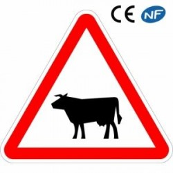Panneau designalisation traversée d'animaux domestiques (A15a1)