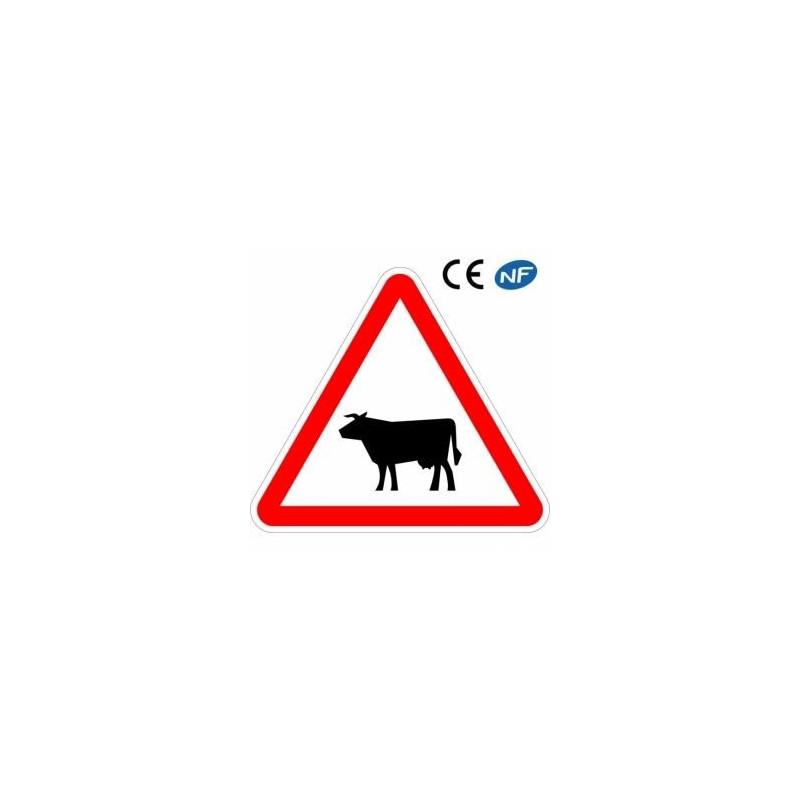 Panneau designalisation traversée d'animaux de la ferme (A15a1)