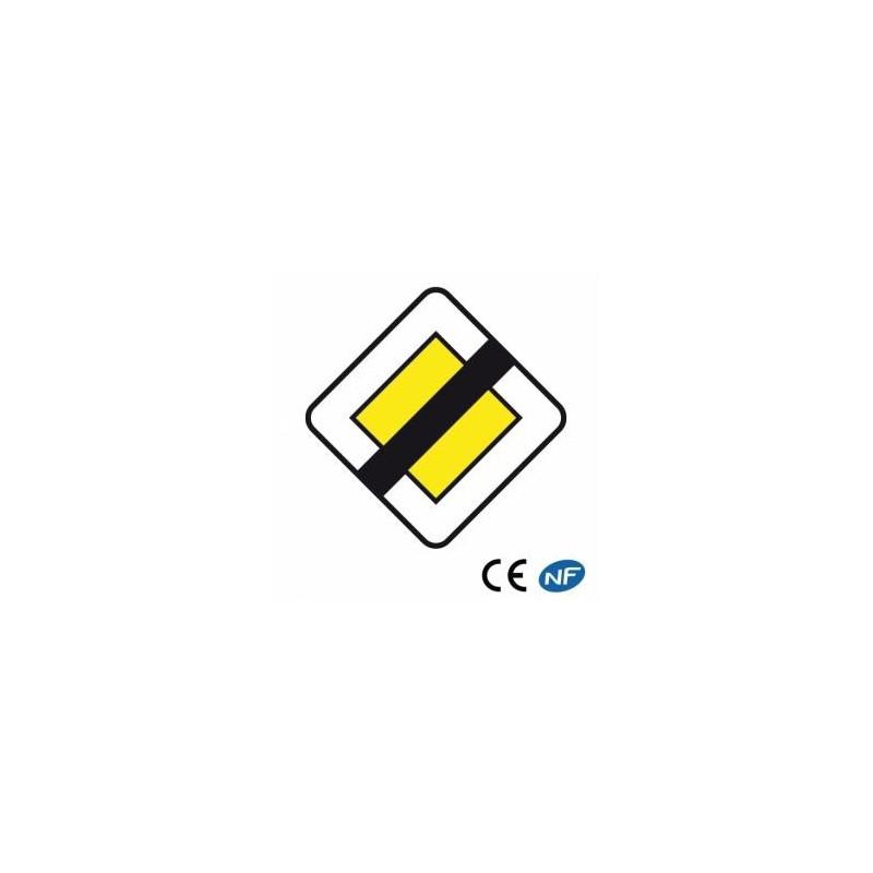 Panneau routier indiquant une fin de route prioritaire (Ab7)
