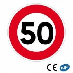 Panneau decirculation LIMITATION DEVITESSE à50KM/H (B14)