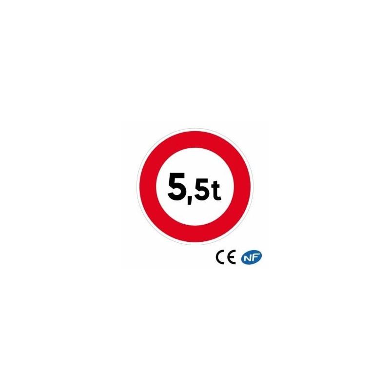 Panneau de circulation d'interdiction limitant le poids des véhicules
