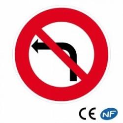 Panneau routier interdiction detourner àgauche (B2a)