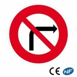 Panneau routier interdiction detourner àdroite (B2b)