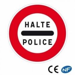 Panneau routier signalant unarrêt obligatoire auposte depolice (B5b)