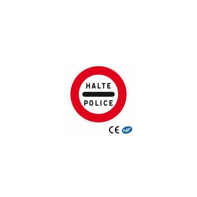 Panneau de circulation signalant unarrêt obligatoire auposte depolice (B5b)