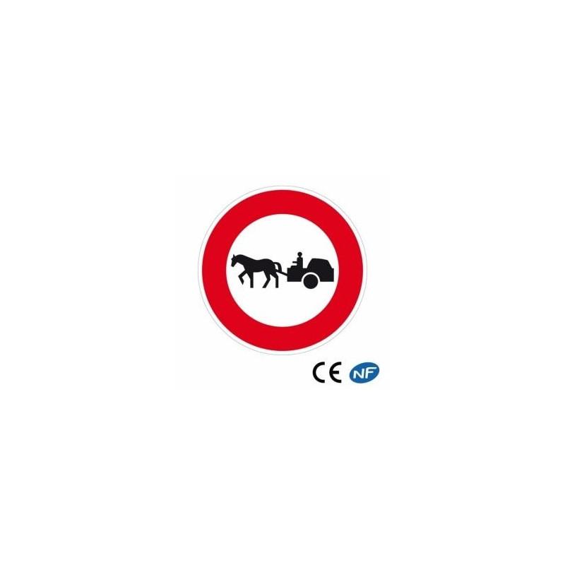 Panneau decirculation accès interdit aux véhicules à traction animale (B9c)