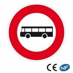 Panneau designalisation accès interdit aux véhicules de transport encommun (B9f)