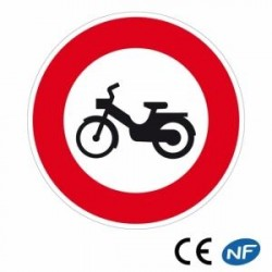 Panneau designalisation accès interdit aux cyclomoteurs (B9g)