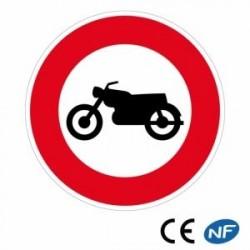 Panneau designalisation accès interdit auxmotocyclettes (B9h)