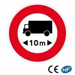 Panneau designalisation indiquant une limitation de longueur (B10a)