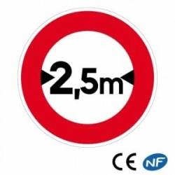 Panneau designalisation indiquant une limitation de largeur (B11)