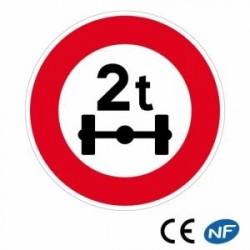 Panneau designalisation indiquant une limitation de poids par essieu B13a