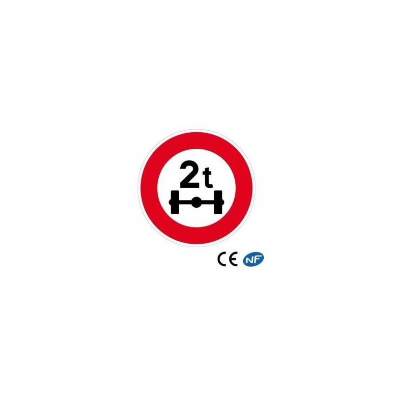 Panneau routier indiquant une limitation de poids par essieu (B13a)